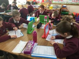 P7 working hard researching Victorian inventions